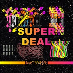 Super Deal Twelve ORIGINAL COPTERS , Twelve Maxi Sling Shots With 8 Inch Rubberband, 12 extra wings,  12 Battery packs and 12 extra 8 inch rubber bands $50