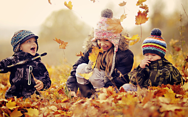 happy kids nature autumn leaves