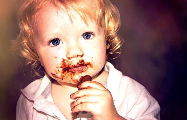 toddler with chocolate