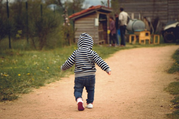 Child Running Cautiously